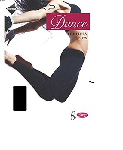Silky donne danza balletto calze senza piede, Black, (Footless Stretch Calze)