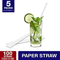 Ezee White Paper Straws 500 Pieces (Pack of 5) Each pack 100 pieces
