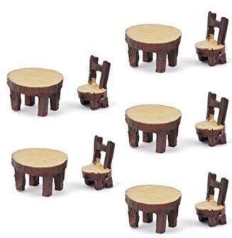 fendii 5set tavolo sedia fai da te Resina Fairy Garden Miniature Micro per decorazione regalo