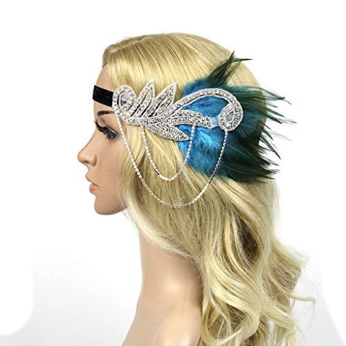 WHSHINE Vintage 1920er Flapper Kopfstück Stirnband Feder Stirnband 20er Jahre Stil Flapper Haarband Stirnband Damen Accessoires Bankett Kopfbedeckung