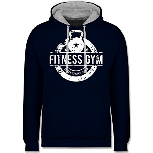 CrossFit & Workout - Fitness Gym Elite Sport Club - Kontrast Hoodie Dunkelblau/Grau meliert