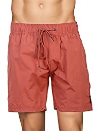 Crosshatch Mens Mesh Lined Swimming Shorts (Large, Botones - Barn Red)