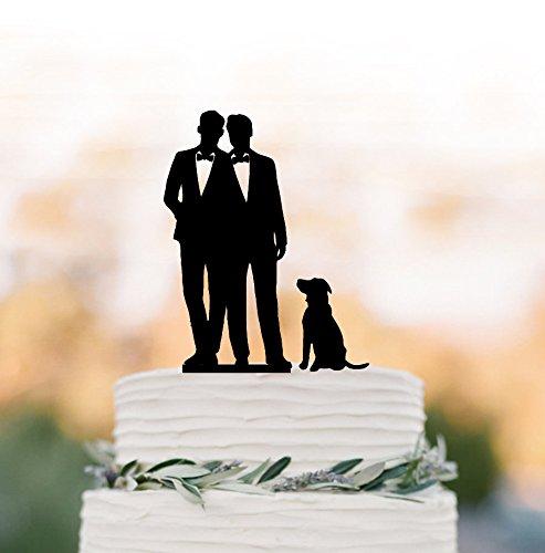 qidushop Gay Tortenaufsatz mit Hund Gay Silhouette für Hochzeit gleichen Sex Geschenk für Gay Wedding Cake Toppers Tortenaufsatz MR Herr eine Hochzeit Rustikal, (Gay Wedding Cake Topper)