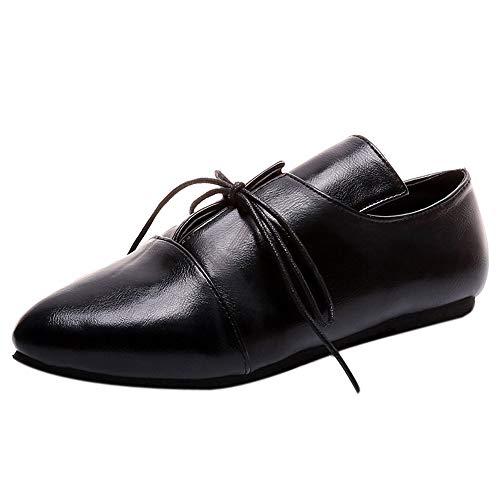 (Stiefel Damen Vintage, Sonnena Frauen Flach Boden Booties Sexy Spitz Toe Bandage Stiefel Casual Knöchel Boots Schuhe Klassische Schnürer Kurzstiefel Stiefeletten Damenschuhe)
