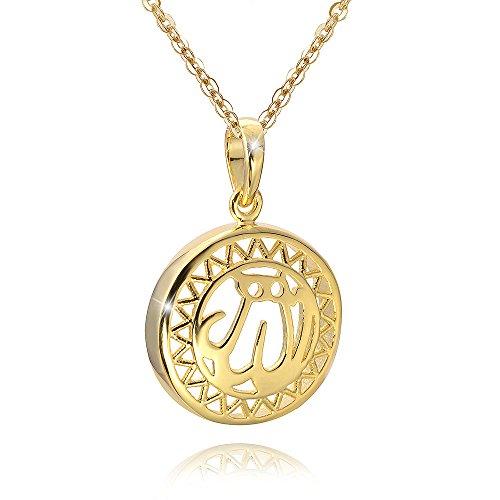 MATERIA Damen Anhänger rund Silber 925 vergoldet mit Allah Schriftzug für Halskette #KA-355