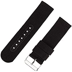 INFANTRY® Military Army Black Nylon Fabric Canvas Watch Band Strap 22mm Strong Heavy Duty