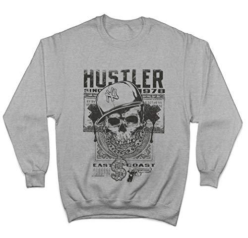 East Coast Hustler Skull with Cap Unisex Pullover/Sweatshirt - Grau - Large (Cap Hustler)