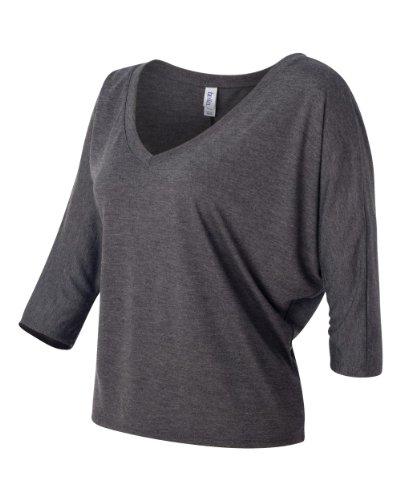 Bella Canvas Flowy Crop-Maglietta con scollo a V Dark Grey