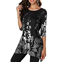 GRMO Womens Fashion Irregular Hem Plus Size Printed Half Sleeve T-Shirt Blouse Tops Grey US 4XL