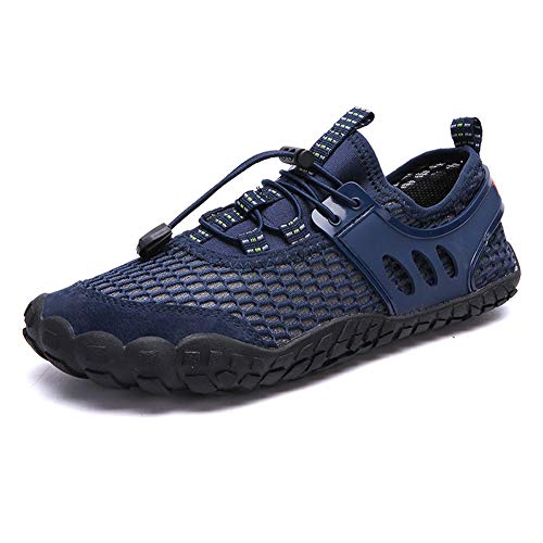 Vousmevoy Mens Breathable Mesh Water Shoes, Outdoor Climbing Hiking Non-Slip Sneakers, Quick-Dry Beach Shoes Barefoot Lightweight Aqua Socks for Water Sports Surf Beach Pool Exercise -