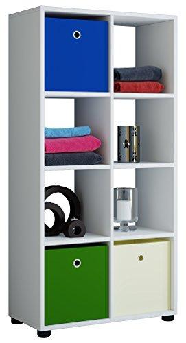 VCM Regal Standregal Säule Bücherregal Aufbewahrung Raumteiler Raumtrenner Holz Weiß 123 x 60 x 30 cm Benas 2x4 (4 Regal 2 X)