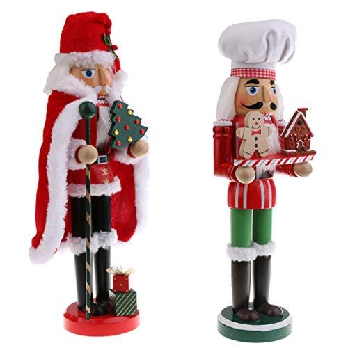 B Blesiya 2 Pezzi Schiaccianoci Giocattolo per Babbo Natale e Cuoco di Legno Gioco di Burattini in Legno per Bambini
