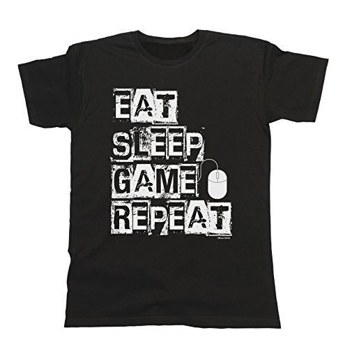 Uomo e Donna Eat Sleep Game Repeat PC MOUSE T-Shirt Mens Ladies Unisex Fit