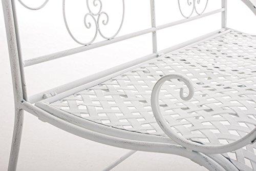 CLP 2er Garten-Bank ANNO V2 mit Armlehne, im Landhausstil, Metall Sitzbank (Eisen lackiert), grazile Form, stilvolle Verzierungen Antik-weiß - 5