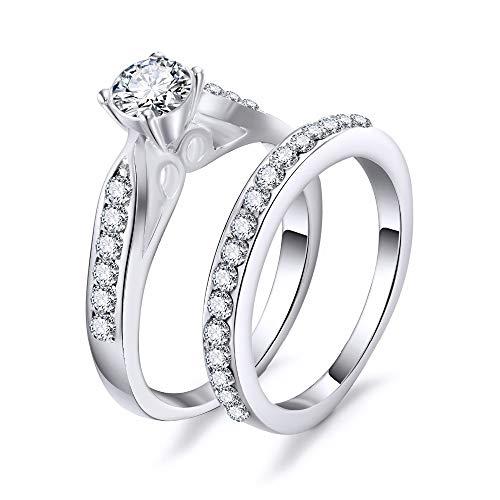 WYYDJZ 2 Teile/losDoppel Ringe Set Engagement Frau Zirkonia Ring Für Frauen Damen Liebhaber Party Hochzeit Schmuck (Zwei-finger-doppel-ringe)