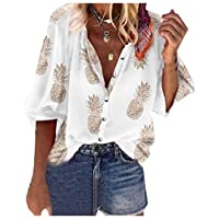 DUe Womens Button Down V-Neck Loose Casual Print Blouse Top White 4XL