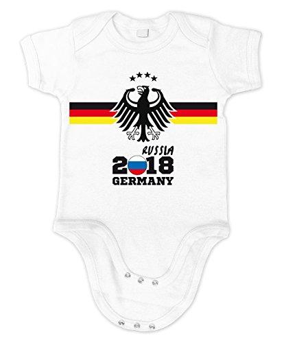 Artdiktat Baby Organic Bodysuit - Strampler - Deutschland Trikot Weltmeisterschaft 2018 Wunschname und -Nummer Am Rücken - Adler Vier Sterne - Russia Russland Fußball Größe 53/60, Weiß (Baumwolle Organische T-shirts Geburtstag)