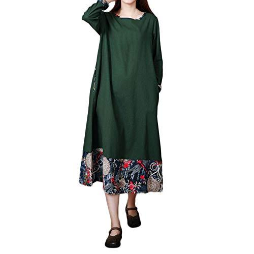 CAOQAO Damen Kaftan Baumwolle Lange Ärmel Einfaches Freizeit Übergroße Maxi Langes Hemdkleid (Plus Hood Kostüm Size Robin)