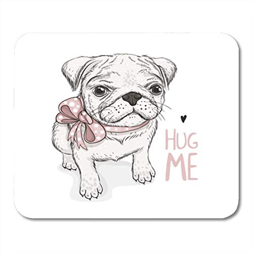 bb4bee1a52baf HOTNING Alfombrillas de ratón, Gaming Mouse Pad Brown Cool Puppy Pug Bow  and Phrase Hug