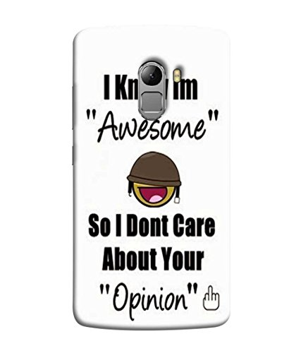 Samken I am Awsome Designer Printed Back Cover Case For Mobile Phone :: Lenovo Vibe K4 Note :: A7010a48 :: A7010 :: Lenovo Vibe X3 Lite :: (Printed, Slim Fit, Shock Proof, Hard Plastic, Matte Finish)
