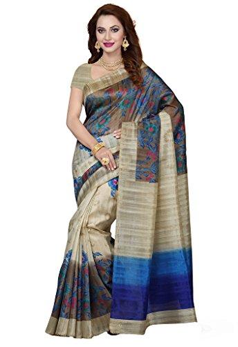 ISHIN Bhagalpuri Silk Beige & Blue Printed Women's Saree  available at amazon for Rs.499