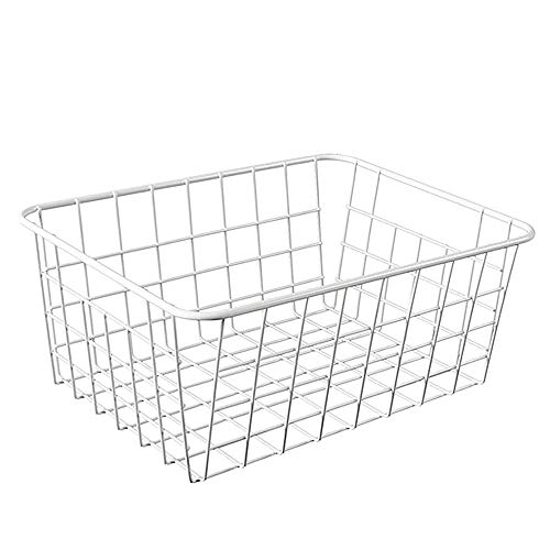 LY/WEY Household Iron Art Storage Basket Kitchen Bedroom Sundries Snacks Organizer Basket Black White,White