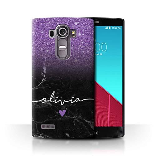 eSwish Personalisiert Individuell Handschrift Glitter Ombre Hülle für LG G4 Beat/H735 / Lila FunkeIn Schwarz Marmor Design/Initiale/Name/Text Schutzhülle/Case/Etui (Skins Glitter Beats)