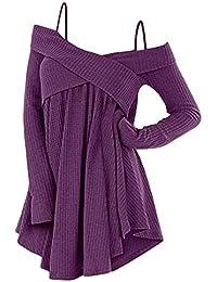 Rosegal Pull Tricot chantail Femme Automne Sweater Manche Longue Chemise  épaules dénudée Mode Tops Long Tunique 1b506d0a25e