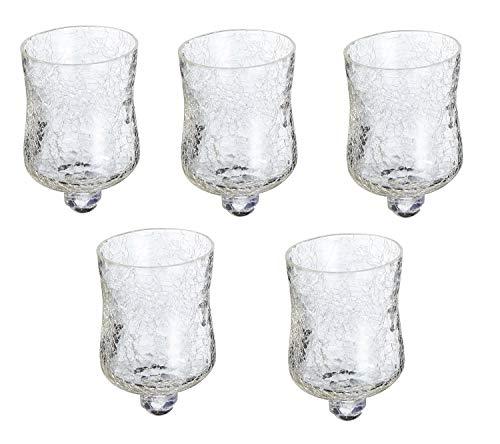 5 x Glasaufsatz für Kerzenständer Crackle Design Windlicht Aufsatz