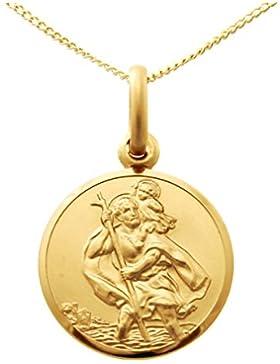 375er Gold St Christopher Anhänger Medaille–14mm–mit 45,7cm Kette und Schmuck Geschenk-Box