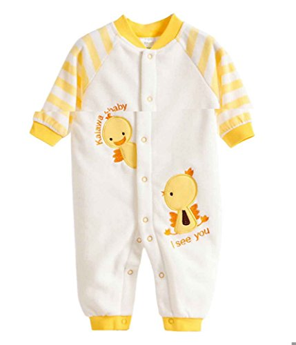 Happy Cherry Baby Overall Herbst Fleece Unisex Schlafanzug Winter Fleeceanzug Cartoon Geblümt Romper Langarm Gestreift Pyjamas Schneeanzug Jumpsuit Sleepsuit Größe 12 - Gelb
