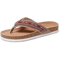 Happy Lily flip-folps rutschfeste Innen-Schuhe mit Kork Fußbett boho-style String Sandale Casual Pantoletten Hausschuhe für Frauen, Y-style uppers