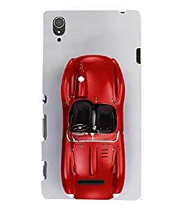 FUSON Luxury Red Sports Car 3D Hard Polycarbonate Designer Back Case Cover for Sony Xperia T3