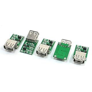 Boost-Modul - TOOGOO(R) 5 Stuecke 0.9V zu 5V DC-DC Konverter USB Anschluss Step Up Boost Modul 600mA Gruen+Silber