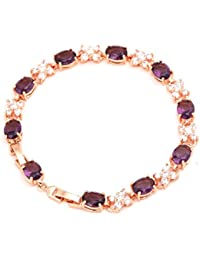 Crunchy Fashion Jewellery Purple AAA Swiss Cubic Zirconia 18K Rose Gold Plated Sparkling Bangle Bracelet For Women...