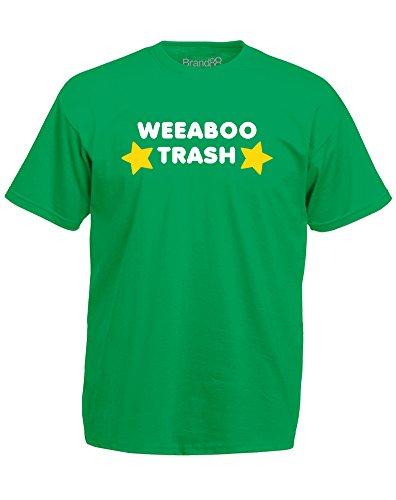 Brand88 - Weeaboo Trash, Mann Gedruckt T-Shirt Grün/Weiß/Gelb