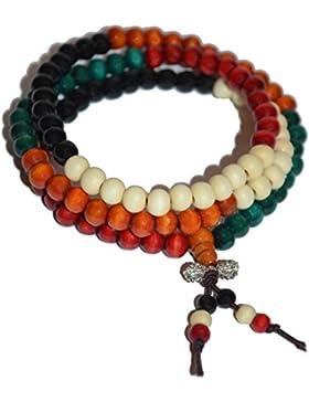 Mala Gebetskette aus Sandelholz 108 perlen 5 Farben - Mala Kette buddhistisch - 8 mm Länge 75 cm, deutscher Händler...