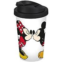 Disney Mickey Mouse Travel Coffee Mug Disney Mickey Kiss 400ml Plastic 9x 9x 16.5cm White/Colourful