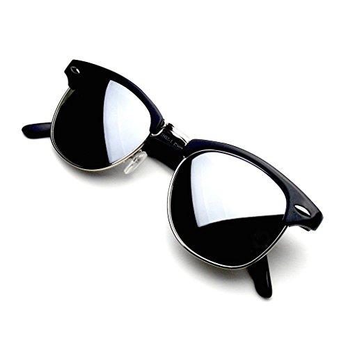 Emblem Eyewear - Prämie Halbbild Horn umrandeten Sonnenbrillen Metall Nieten (Flash Mirror | Schwarz-Silber) (Vintage Horn Umrandeten Sonnenbrille)