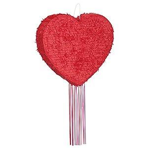 Unique Party- Piñata corazón para tirar, Color rojo (65998)