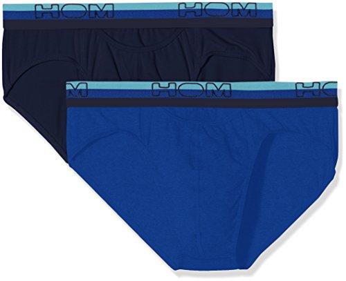 HOM Herren Slip Boxerlines #2 Mini Briefs Ho1, 2er Pack Blau (Navy+Blue V002)