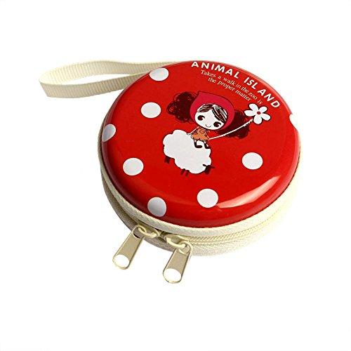 Fulltime® Cute Animal-Island-Serie Kopfhörer SD-Karten-Tasche Schutztasche Mini Zipper Praktische Tragetasche für In-Ear-Ohrhörer, 7cm x 3cm (Rot) (Serie Kopfhörer)