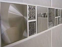 Stunning Jupiter Glass/Metal Mosaic Border Tile Strip 300 x 50mm x 5 strips