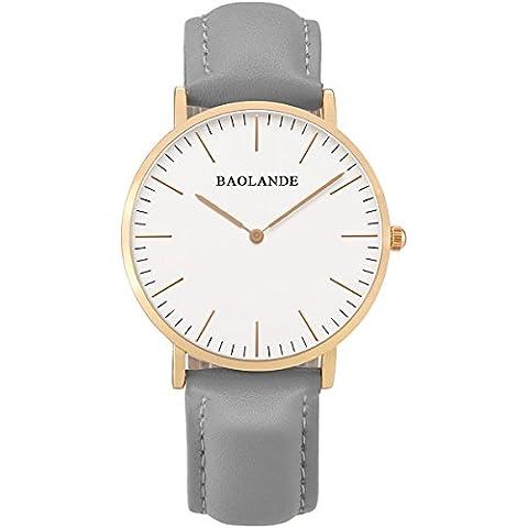 Alienwork Classic St.Mawes Reloj cuarzo elegante cuarzo moda diseño atemporal clásico Piel de vaca oro rosa gris