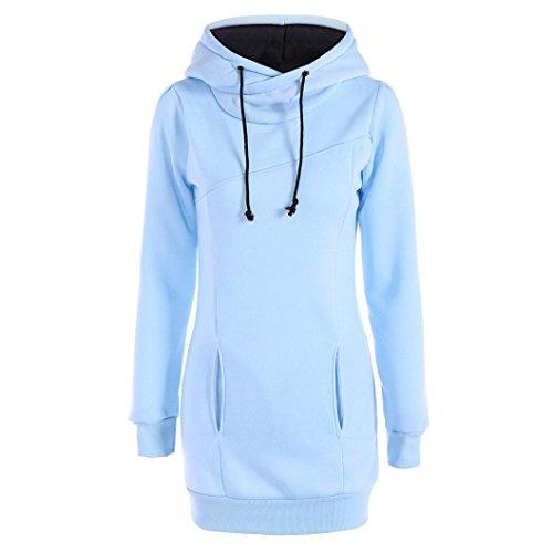 Damen Hoodie Sweatshirt,Dasongff Frauen Kapuzenpullover Mit hohem Kragen Feste Sweatshirt Pullover Tops Slim Fit Pulloverkleid (XL, Hellblau)