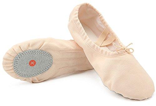 Dreamone Scarpe Danza Classica Scarpe da Ballo Scarpette da Danza Balletto Ginnastica Ballerina Pantofole Beige