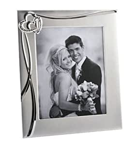 """Personalised Joined Hearts Silver Photo Frame 10"""" x 8"""" Engraved"""