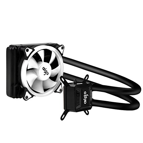 AIGO Liquide Refroidisseur CPU Watercooler avec Radiateur de 120 mm Ventilateur Watercooling Haute Performance All-In-One Liquid CPU Cooler avec Lumière LED - Noir