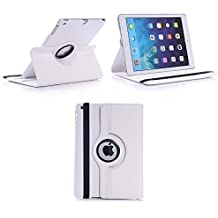 Gadget Boxx - Funda Giratoria de 360° de Cuero Sintético Blanco para Apple iPad Air 2