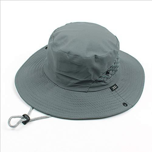 Sonnenhut Breiter Krempe Hut Angeln Hut Abkühlung Hut Außenkühlung UV Sommer Sonnenschutzkappe Jagd Hut Faltbar Wanderhut Einstellbar Für Männer Frauen (Grau, Einheitsgröße) -